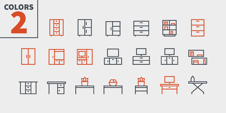 Furniture UI Pixel Perfect Well-crafted Vector Thin Line Icons Web Graphics and Apps with Editable Stroke. Simple Minimal Pictogram Part 1-3 Ilustração