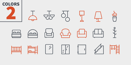 Furniture UI Pixel Perfect Well-crafted Vector Thin Line Icons Web Graphics and Apps with Editable Stroke. Simple Minimal Pictogram Part 3-3