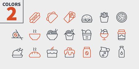 Alimentos UI Pixel Perfect Iconos de líneas finas vectoriales bien elaborados 48x48 Listo para cuadrícula 24x24 para gráficos web y aplicaciones con trazos editables. Pictograma mínimo simple, parte 1-3
