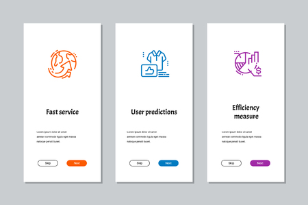 Fast service, User predictions, Efficiency measure onboarding screens with strong metaphors Illustration