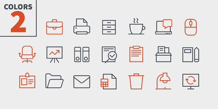 Office Outlined Pixel Perfect Well-crafted Vector Thin Line Icons 48x48 Ready for 24x24 Grid for Web Graphics and Apps with Editable Stroke. Simple Minimal Pictogram Part 1-1 Illustration