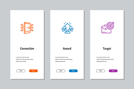 Connection, Award, Target onboarding screens with strong metaphors Illustration