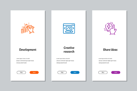 Development, Creative research, Share ideas onboarding screens with strong metaphors