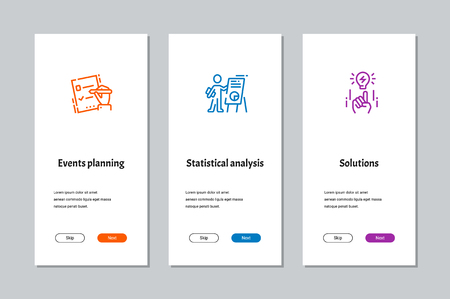 Events planning, Statistical analysis, Solutions onboarding screens with strong metaphors Stock Vector - 109718152