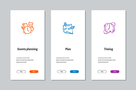 Events planning, Plan, Timing onboarding screens with strong metaphors