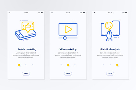 Mobile marketing, Video marketing, Statistical analysis Vertical Cards with strong metaphors. Template for website design.