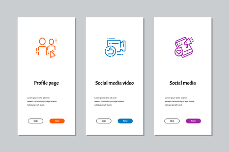 Profile page, Social media video, Social media onboarding screens with strong metaphors