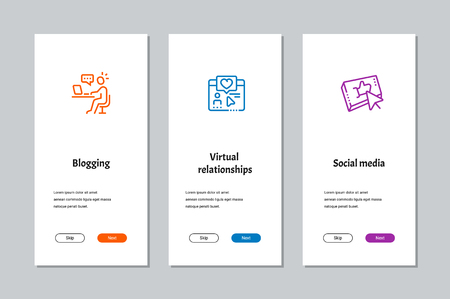 Blogging, Virtual relationships, Social media onboarding screens with strong metaphors