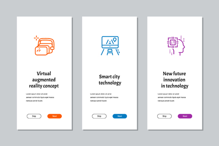 Virtual augmented reality concept, Smart city technology, New future innovation in technology onboarding screens with strong metaphors Illustration