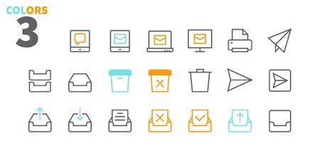 Email UI Pixel Perfect bien conçu Icônes de fine ligne vectorielles 48x48 prêtes pour la grille 24x24 pour les graphiques Web et les applications avec contour modifiable. Pictogramme minimal simple partie 2-5