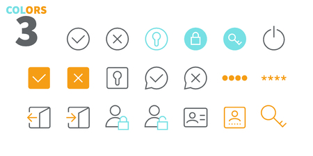 Login UI Pixel Perfect Well-crafted Vector Thin Line Icons 48x48 Ready for 24x24 Grid for Web Graphics and Apps with Editable Stroke. Simple Minimal Pictogram Part 2-3 Ilustração