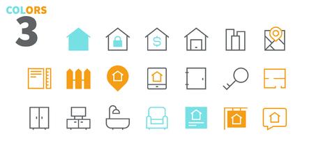 Real Estate Pixel Perfect Iconos vectoriales de líneas finas bien elaborados 48x48 Listo para cuadrícula 24x24 para gráficos web y aplicaciones con trazos editables. Pictograma mínimo simple, parte 1-1