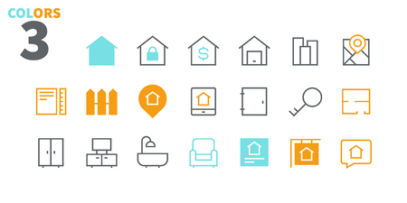 Real Estate Pixel Perfect Well-crafted Vector Thin Line Icons 48x48 Ready for 24x24 Grid for Web Graphics and Apps with Editable Stroke. Simple Minimal Pictogram Part 1-1