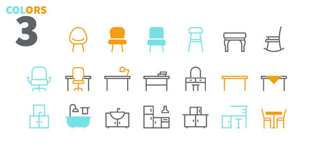 Furniture UI Pixel Perfect Well-crafted Vector Thin Line Icons Web Graphics and Apps with Editable Stroke. Simple Minimal Pictogram Part 2-3 Banque d'images - 109718190