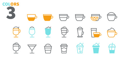 Coffee UI Pixel Perfect Well-crafted Vector Thin Line Icons 48x48 Ready for 24x24 Grid for Web Graphics and Apps with Editable Stroke. Simple Minimal Pictogram Part 1-1 Ilustração