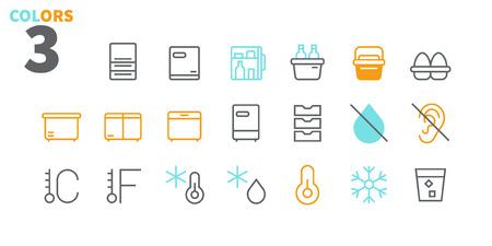 Kühlschrank UI Pixel Perfekt Gut gestaltete Vektor-Thin-Line-Symbole 48x48 Bereit für 24x24-Raster für Webgrafiken und Apps mit bearbeitbarem Strich. Einfaches minimales Piktogramm Teil 2-2