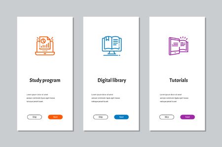 Study program, Digital library, Tutorials onboarding screens with strong metaphors