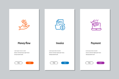 Money flow, Invoice, Payment onboarding screens with strong metaphors