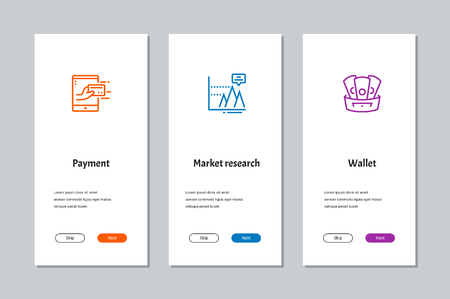 Payment, Market research, Wallet onboarding screens with strong metaphors Illustration
