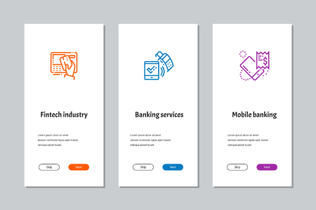 Fintech industry, Banking services, Mobile banking onboarding screens with strong metaphors Illustration