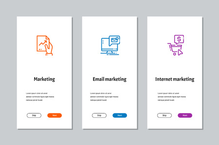 Marketing, Email marketing, Internet marketing onboarding screens with strong metaphors