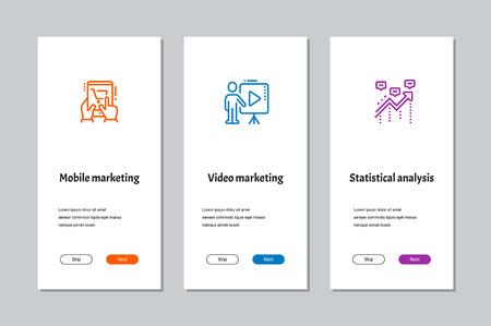 Mobiele marketing, videomarketing, onboarding-schermen voor statistische analyse met sterke metaforen