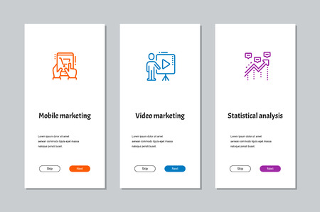 Mobile marketing, Video marketing, Statistical analysis onboarding screens with strong metaphors Stok Fotoğraf - 108811967
