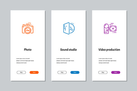 Photo, Sound studio, Video production onboarding screens with strong metaphors