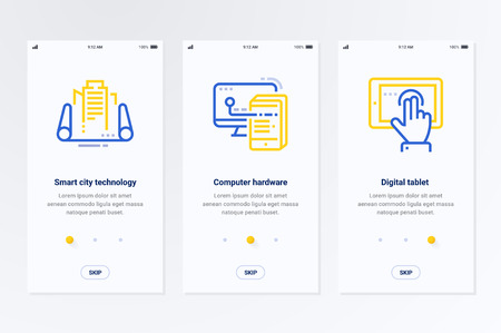 Smart city technology, Computer hardware, Digital Tablet Vertical Cards with strong metaphors. Template for website design.