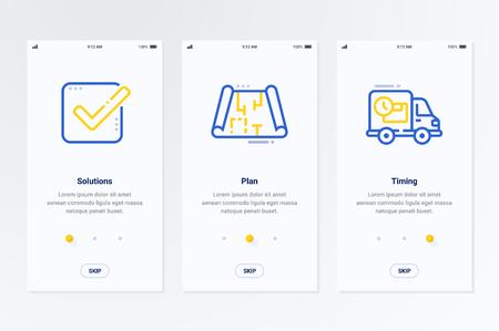 Oplossingen, plannen, timing Verticale kaarten met sterke metaforen. Sjabloon voor website-ontwerp.