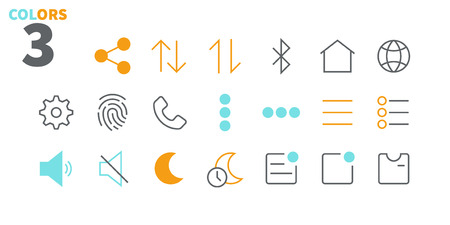 Settings UI Pixel Perfect Well-crafted Vector Thin Line Icons 48x48 Ready for 24x24 Grid for Web Graphics and Apps with Editable Stroke. Simple Minimal Pictogram Part 1-6
