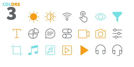 Settings UI Pixel Perfect Well-crafted Vector Thin Line Icons 48x48 Ready for 24x24 Grid for Web Graphics and Apps with Editable Stroke. Simple Minimal Pictogram Part 5-6 Stock Illustratie