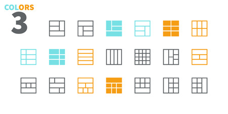 Layout UI Pixel Perfect Well-crafted Vector Thin Line Icons 48x48 Ready for 24x24 Grid for Web Graphics and Apps with Editable Stroke. Simple Minimal Pictogram Part 3-6