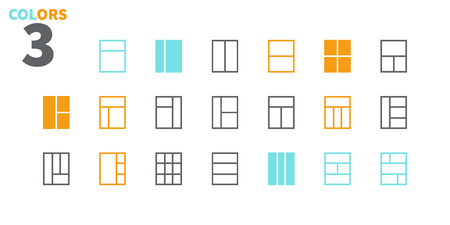 Layout UI Pixel Perfect Well-crafted Vector Thin Line Icons 48x48 Ready for 24x24 Grid for Web Graphics and Apps with Editable Stroke. Simple Minimal Pictogram Part 5-6