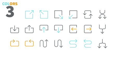 Arrows UI Pixel Perfect Well-crafted Vector Thin Line Icons 48x48 Ready for 24x24 Grid for Web Graphics and Apps with Editable Stroke. Simple Minimal Pictogram Part 5-5 Ilustração