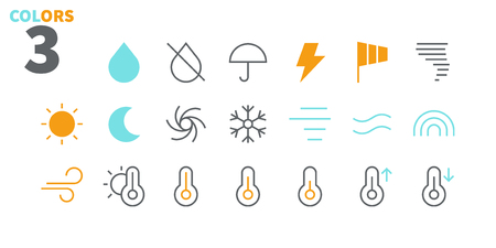 Weather UI Pixel Perfect Well-crafted Vector Thin Line Icons 48x48 Ready for 24x24 Grid for Web Graphics and Apps with Editable Stroke. Simple Minimal Pictogram Part 1-3