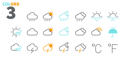 Weather UI Pixel Perfect Well-crafted Vector Thin Line Icons 48x48 Ready for 24x24 Grid for Web Graphics and Apps with Editable Stroke. Simple Minimal Pictogram Part 2-3 Illustration