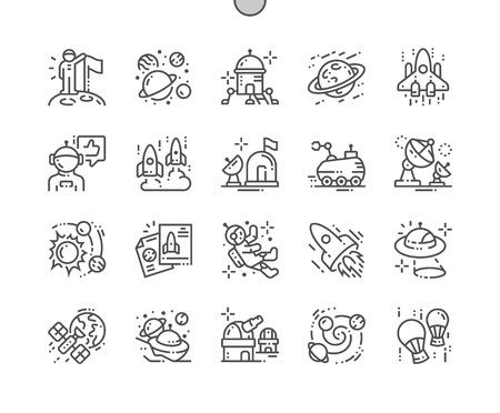 Exploration de l'espace bien conçu Pixel Perfect Vector Thin Line Icons 30 Grille 2x pour les graphiques Web et les applications. Pictogramme minimal simple