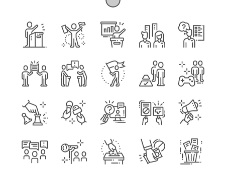 Naga polityka Dobrze wykonane Pixel Perfect Vector Cienkie ikony 30 2x Siatka dla grafiki internetowej i aplikacji. Prosty minimalny piktogram Ilustracje wektorowe