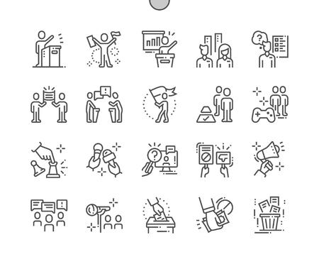 Política al desnudo Iconos de líneas finas vectoriales Pixel perfectos bien elaborados Cuadrícula de 30 2x para gráficos y aplicaciones web. Pictograma mínimo simple Ilustración de vector