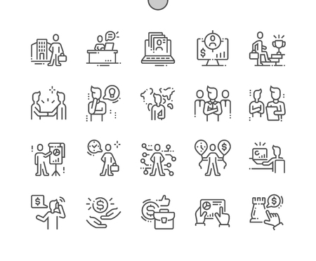 Business people Well-crafted Pixel Perfect Vector Thin Line Icons 30 2x Grid for Web Graphics and Apps. Simple Minimal Pictogram Иллюстрация