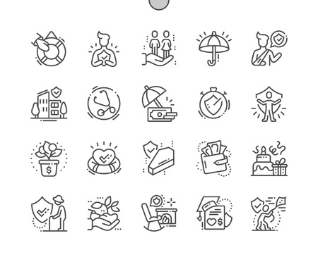 Life insurance Well-crafted Pixel Perfect Vector Thin Line Icons 30 2x Grid for Web Graphics and Apps. Simple Minimal Pictogram  イラスト・ベクター素材