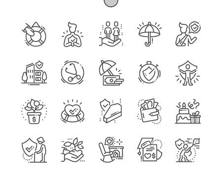 Assicurazione sulla vita Pixel Perfect Vector Thin Line Icone ben realizzate 30 Griglia 2x per grafica Web e app. Pittogramma minimale semplice Vettoriali