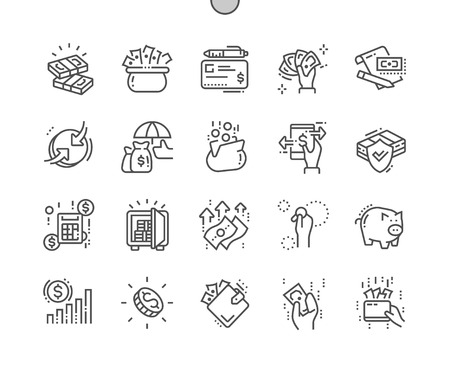 Money Well-crafted Pixel Perfect Vector Thin Line Icons 30 2x Grid for Web Graphics and Apps. Simple Minimal Pictogram 일러스트
