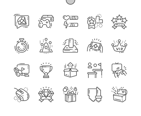 Video Games Well-crafted Pixel Perfect Vector Thin Line Icons 30 2x Grid for Web Graphics and Apps.