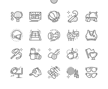 Sport Equipment Well-crafted Pixel Perfect Vector Thin Line Icons 30 2x Grid for Web Graphics and Apps. Simple Minimal Pictogram Illustration