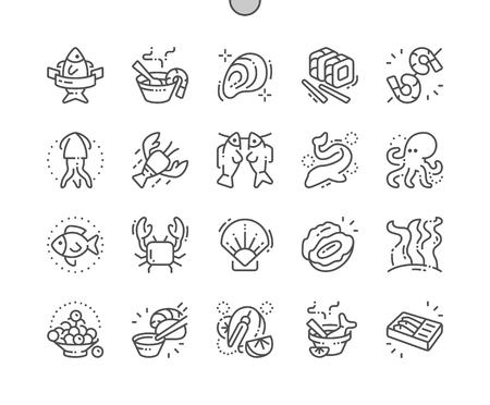 Frutti di mare Icone ben realizzate Pixel Perfect Vector Thin Line 30 Griglia 2x per grafica Web e app. Vettoriali