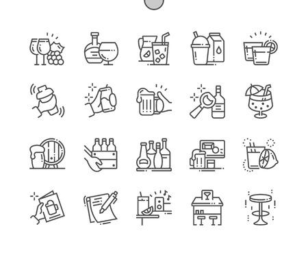 Barra Iconos de líneas finas vectoriales Pixel perfectos bien elaborados Cuadrícula de 30 2x para gráficos y aplicaciones web. Pictograma mínimo simple