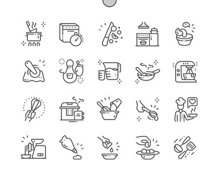 Keuken Goed gemaakte Pixel Perfect Vector Dunne lijnpictogrammen 30 2x raster voor webafbeeldingen en apps. Eenvoudig minimaal pictogram