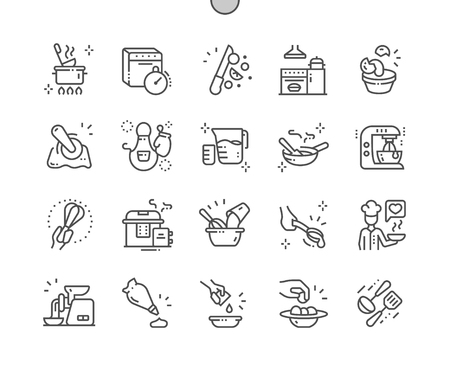 Kitchen Well-crafted Pixel Perfect Vector Thin Line Icons 30 2x Grid for Web Graphics and Apps. Simple Minimal Pictogram Illusztráció